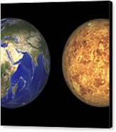Artists Concept Showing Earth And Venus Canvas Print by Walter Myers