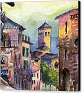 Assisi Street Scene Canvas Print by Lydia Irving