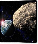Asteroid Approaching Earth Canvas Print by Roger Harris