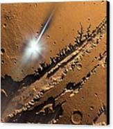 Asteroid Impact On Mars, Artwork Canvas Print by Detlev Van Ravenswaay