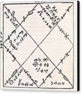 Astrology Chart, 16th Century Canvas Print