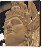Athena Sculpture Sepia Canvas Print by Linda Phelps