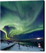 Aurora Over The Road Canvas Print by Frank Olsen