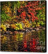 Autumn Forest And River Landscape Canvas Print