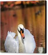Autumn Swan Canvas Print by Leslie Leda
