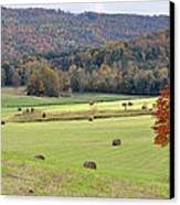 Autumn Valley Hay Bales Canvas Print by Jan Amiss Photography