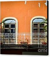 Balcony With Palms Canvas Print by Perry Webster
