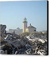 Bandon Oregon Lighthouse Art Prints Driftwood Canvas Print by Baslee Troutman