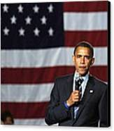 Barack Obama At A Public Appearance Canvas Print by Everett