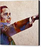 Barack Obama Watercolor Canvas Print by Steve K