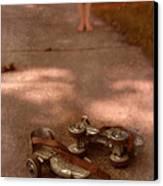 Barefoot Girl On Sidewalk With Roller Skates Canvas Print by Jill Battaglia