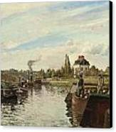 Barge On The Seine At Bougival Canvas Print by Camille Pissarro