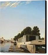 Barges At A Mooring Canvas Print