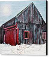 Barn In Snow Southbury Ct Canvas Print