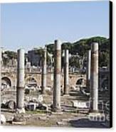Base Of Trajan's Column And The Basilica Ulpia. Rome Canvas Print by Bernard Jaubert