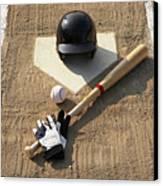 Baseball, Bat, Batting Gloves And Baseball Helmet At Home Plate Canvas Print by Thomas Northcut
