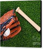 Baseball Glove Bat And Ball On Grass Canvas Print by Richard Thomas
