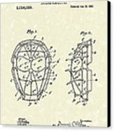 Baseball Mask 1912 Patent Art Canvas Print by Prior Art Design