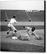 Baseball. Ty Cobb Safe At Third Canvas Print by Everett