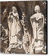 Basilica Sagrada Familia Nativity Facade Detail Canvas Print by Matthias Hauser