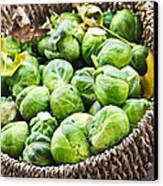 Basket Of Brussels Sprouts Canvas Print