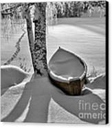 Bath And Snowy Rowboat Canvas Print