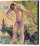 Bather Drying Himself At St Tropez Canvas Print by Henri-Edmond Cross