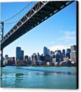 Bay Bridge And Embarcadero Canvas Print by Lily Chou