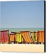 Beach Chairs Colorful  Canvas Print