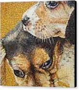 Beagle Puppies Canvas Print by Judy Skaltsounis