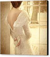 Beautiful Lady In Sequin Gown Looking Out Window Canvas Print