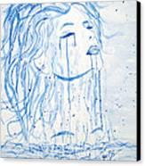 Beautiful Sea Woman Watercolor Painting Canvas Print by Georgeta  Blanaru