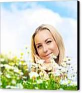 Beautiful Woman Enjoying Daisy Field And Blue Sky Canvas Print by Anna Om
