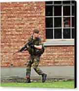 Belgian Infantrists Under Attack Canvas Print by Luc De Jaeger