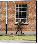 Belgian Soldiers On Patrol Canvas Print by Luc De Jaeger