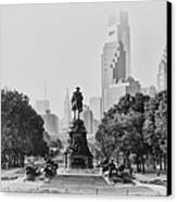 Benjamin Franklin Parkway In Black And White Canvas Print by Bill Cannon
