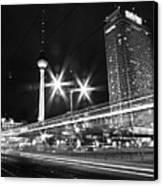 Berlin Alexanderplatz At Night Canvas Print by Bernd Schunack
