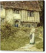 Beside The Old Church Gate Farm Smarden Kent Canvas Print by Helen Allingham