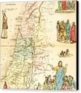 Biblical Map Palestine Canvas Print