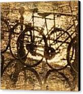 Bikes On The Canal Canvas Print by Skip Nall