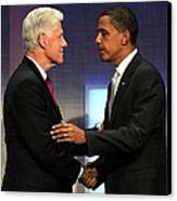 Bill Clinton, Barack Obama At A Public Canvas Print