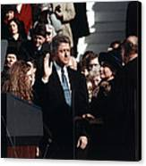 Bill Clinton Center, Taking The Oath Canvas Print by Everett