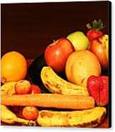 Black Plate And Fruit Canvas Print