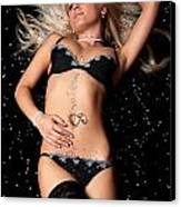 Blond In Black Lingerie Covered In Diamonds Canvas Print