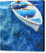 Blue And White. Lonely Boat. Impressionism Canvas Print