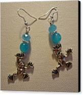 Blue Frog Earrings Canvas Print by Jenna Green