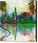 Blue Heron In My Mexican Garden Canvas Print by John  Kolenberg
