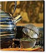 Blue Japanese Teapot Canvas Print by Sandra Cunningham