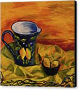Blue Pitcher With Lemons Canvas Print by Phyllis  Smith