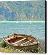 Boat And Wild Flowers By Sea Canvas Print by M Moraes